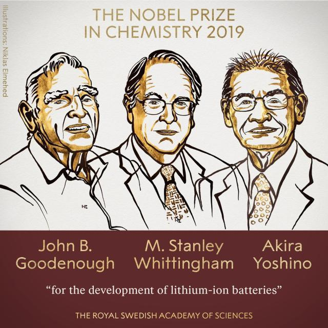 3 scientists share 2019 Nobel Prize in chemistry for the development of Lithium Battery